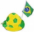 Chapeu Torcedor Jogos Brasil Futebol Copa do Mundo Bola Bandeirinha