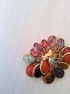 Pendente em ouro modelo oval com pedra colorida