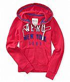 Moletom aeropostale womens aero ny full zip hoodie pink pizazz