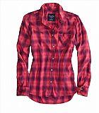 Camisa American Eagle Womens AE Boyfriend Button Down Shirt Pink 1354 5818