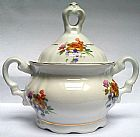 Porcelana real acucareiro antigo com motivo floral