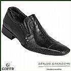 Sapato social gofer 9164 - couro natural legitimo preto cafe