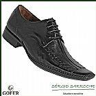 Sapato social gofer 0235 - couro natural legitimo preto cafe