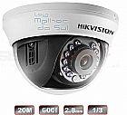 Camera de monitoramento dome ir 20m lente 2,8mm 600tvl hikvision