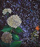 Quadro de hortensia com borboleta
