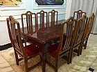Mesa de jantar rustica  madeira 8 lugares estofado - barueri