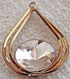 Gota dupla metal dourado flash com cristal facetado modelo diamante/prisma