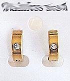 Par de brincos  metal dourado flash com strass,   fixador pressao