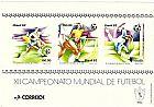 Xii campeonato mundial de futebol realizado em 1982,   bloco com 3 selos