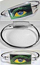 Bracelete metal branco,   olho nas cores da bandeira do brasil