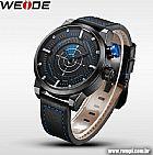 Lindo relógio analógico weide wh5201-3c com pulseira em couro legítimo frete gratis