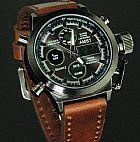 Lindo relógio analógico-digital masculino pulseira em couro visor em hardlex a prova d´água