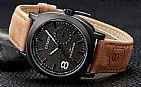 Relogio curren masculino pulseira em couro legítimo visor nâo risca frete grátis modelo 8139