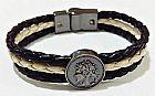 Pulseira bracelete masculina feminina couro fecho magnetico