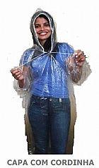 Capa de chuva descartavel com cordinha