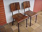 Duas cadeiras em madeira e ferro da decada de cinquenta