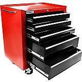 Carro para ferramentas com 5 gavetas preto e vermelho