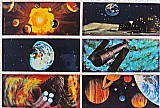 Viagem espacial surpresa,    criacao do sistema solar (2),     base lunar (4),    terra (4),     telescopio hubble (5),    viagens imaginarias (4) e planetas (5). rarissimos,    6 card's holograficos