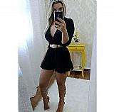 Macacao macaquinho roupas femininas transpassado manga longa