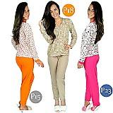 Pijamas longo adulto feminino blusa manga comprida e calca