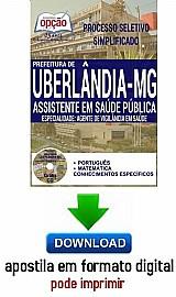 Processo seletivo simplificado prefeitura de uberlandia 2016  assistente em saúde pública - agente de vigilância em saúde