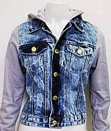 Jaqueta jeans feminina com moletom