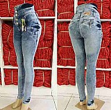 Calca jeans feminina corpete cintura alta com laycra