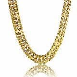 Colar masculino folhado a ouro 18k figaro grosso 5mm de grossura por 55 cm de comprimento