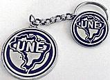 Uniao nacional dos estudantes - boton e chaveiro em metal branco