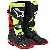 Bota alpinestars new tech 10 preto/amarelo flúor/vermelho