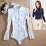 Blusa feminina branca manga longa com bojo cod. 233