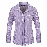 Camisa feminina xadrez listra vertical azul e branco cod. 244