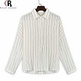 Blusa feminina branca listra vertical manga longa cod. 400