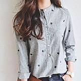Blusa feminina cinza com estampa cod. 427