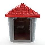 Casa plastica clicknew americana - cinza com vermelho