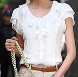 Blusa feminina branca manga curta dupla face cod. 565
