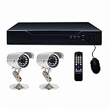 Kit 2 cameras de seguranca infrared ir cut   dvr greatek 4ch acessa no celular