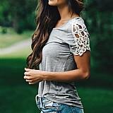 Blusa feminina cinza ombro aberto com telhes cod. 733