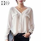 Blusa feminina branca dois bolsos manga longa cod. 740