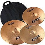 Kit pratos krest b8 fusion series 14 16 20 bronze com bag