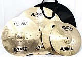 Kit pratos fusion krest cymbals chimbal 14 ataque 16 ride 20