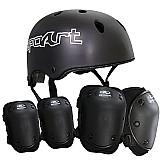Kit de protecao skate capacete,  cotoveleira e joelheira