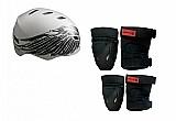 Kit de protecao c/ capacete cinza sandro dias patins skate