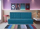 Futon turco sofa-cama - suede azul - canto a canto