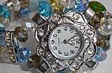 Relogio feminino quartz pulseira pedrinhas color