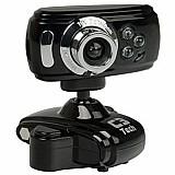 Webcam c3 tech wb2105-p 30.0mp com microfone integrado,  botao snapshot e visao noturna - preto