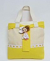 Bolsa artesanal em tecido happy doll