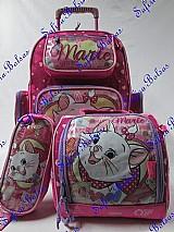Mochila escolar carrinho kit marie grande
