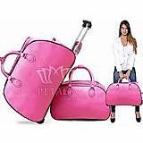 Kit conjunto mala de viagem com rodinha   bolsa