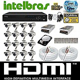 Kit cftv 16 cameras sony 1/3 dvr 16c intelbras vd3116 hd 1tb
